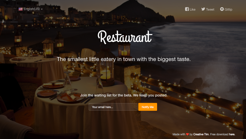 Coming Sssoon Page for Restaurant