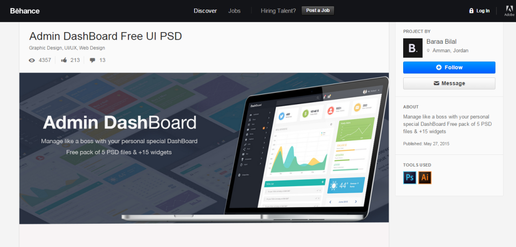 Dashboard Templates - Admin Dashboard Free UI PSD