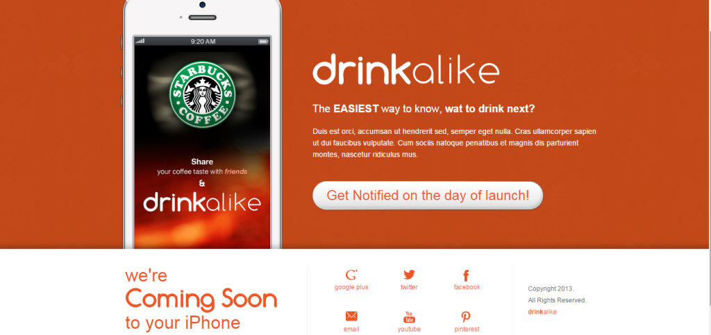 coming soon page - drinkalike