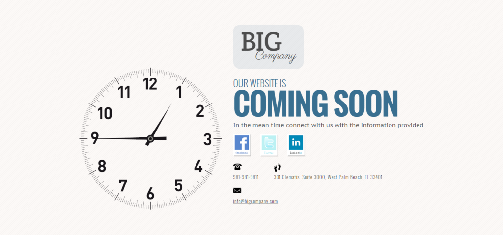 coming soon page - big company