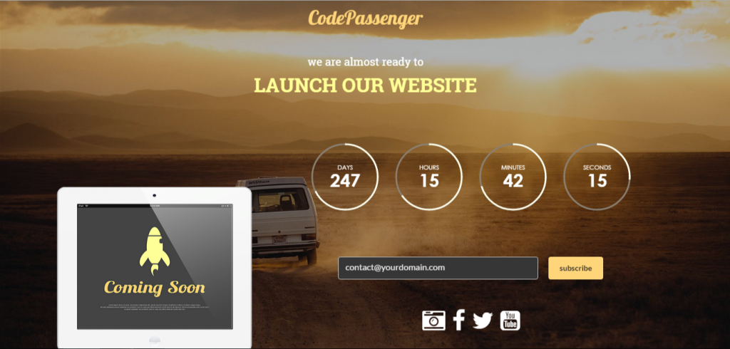 coming soon page - code passenger