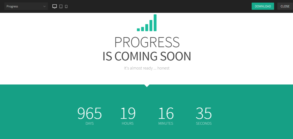 coming soon page - progress