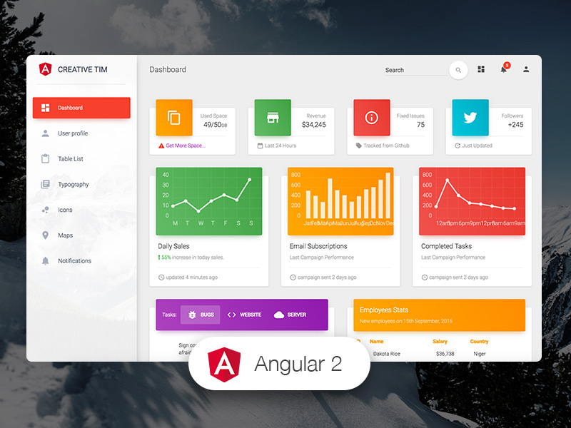 Dashboard Templates - Material Dashboard Angular