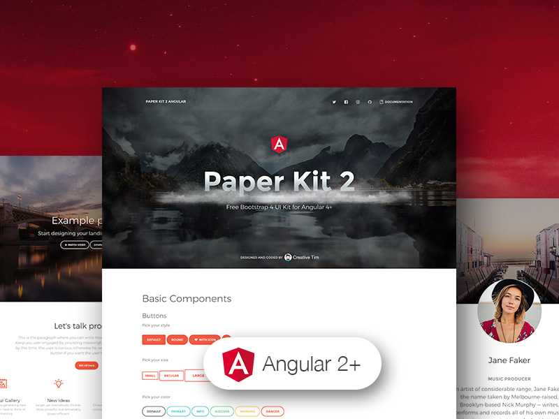 paper kit 2 angular-Bootstrap 4 UI Kit