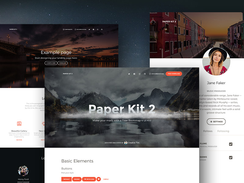 paper kit 2-Bootstrap 4 UI Kit