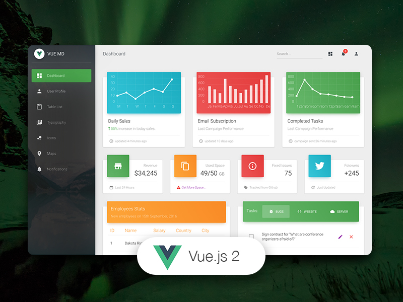 Dashboard Templates - Vue Material Dashboard
