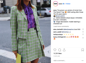 ASOS Instagram post - a woman in green