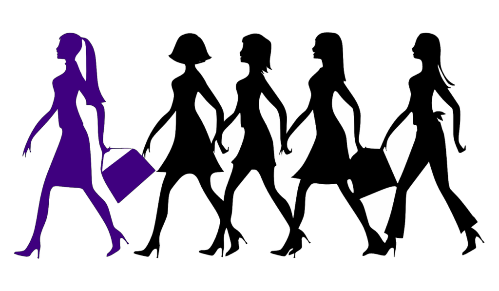 drawing of group of women in black color, walking with a leader in purple color in front