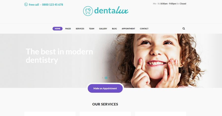 Dentalux Dentist & Healthcare Site Template