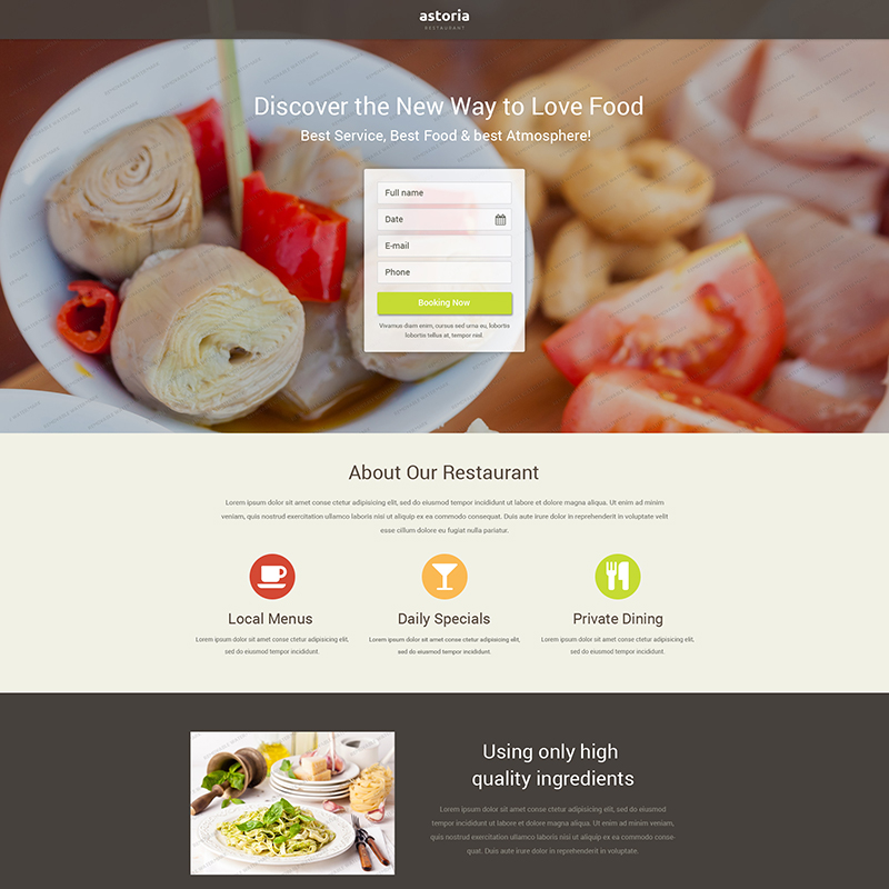 Free Restaurant Landing Page Template