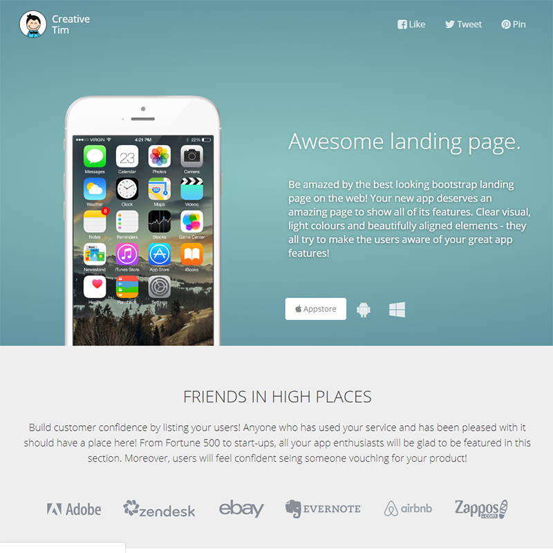 Awesome Landing Page FREE ONE PAGE TEMPLATE