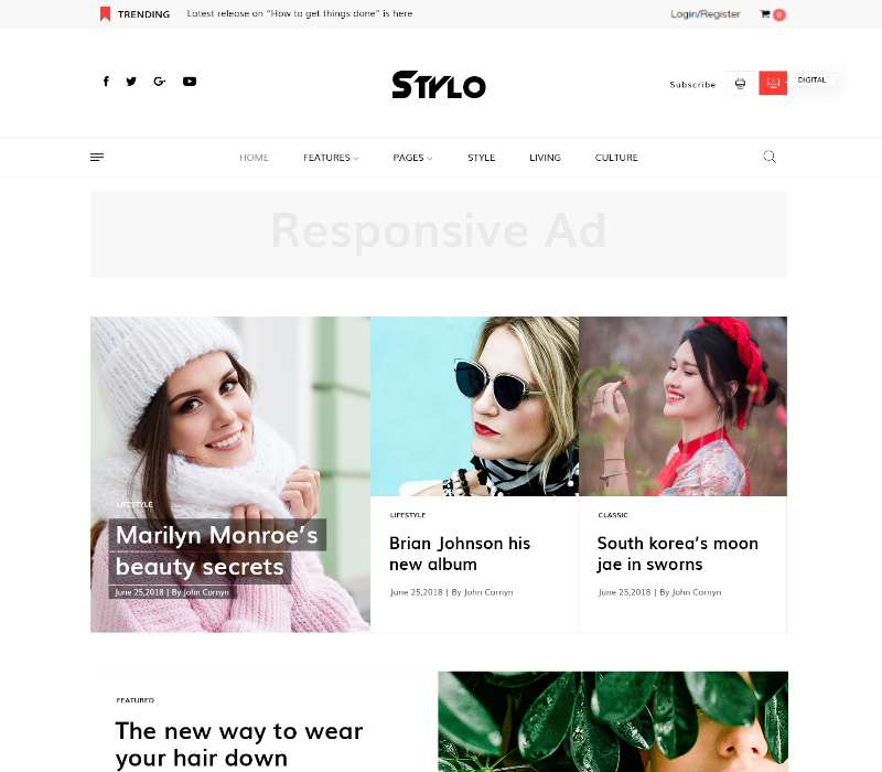 JD Stylo - Fashion Blog & Magazine Joomla 3.9+ Template