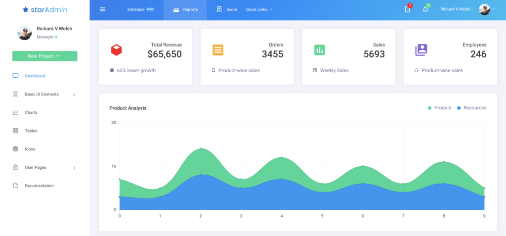 star admin react dashboard preview