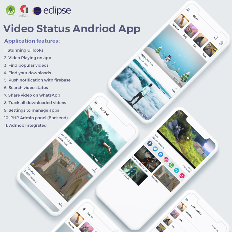 WhatsApp Video Status & Video Sharing with Admin Panel App Template
