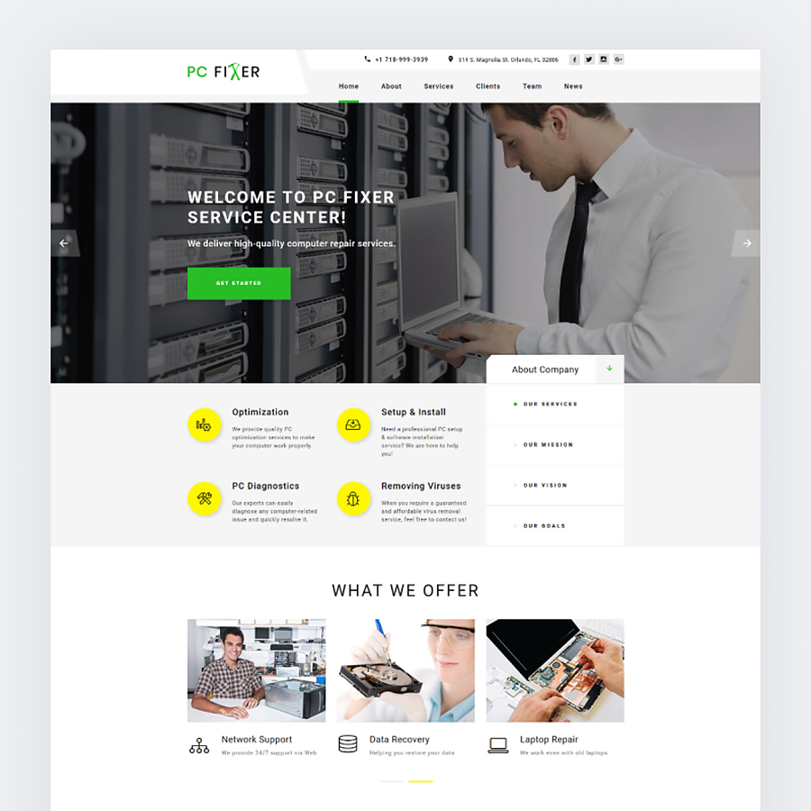 Computer Repair Services Landing Page HTML template