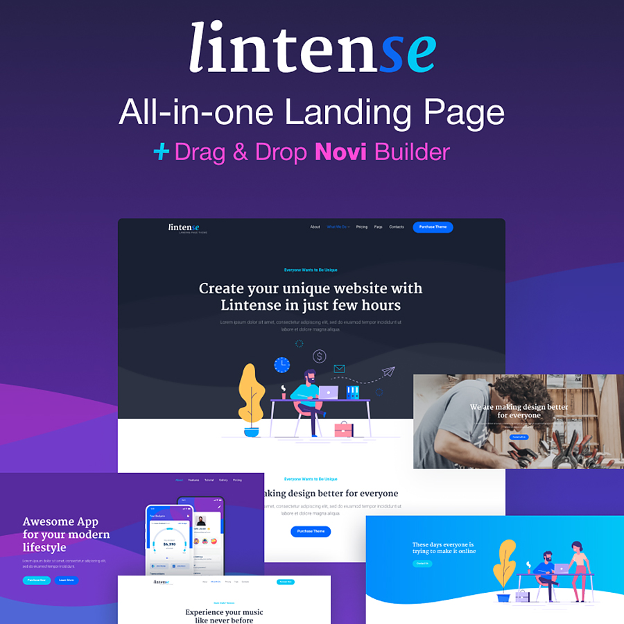 All-in-One Landing Page - Lintense Design by Zemez