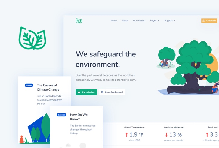 Leaf - Nonprofit Environmental Bootstrap 4 Template