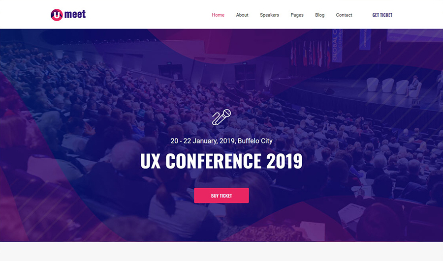 Umeet - Free Conference Bootstrap Landing Page
