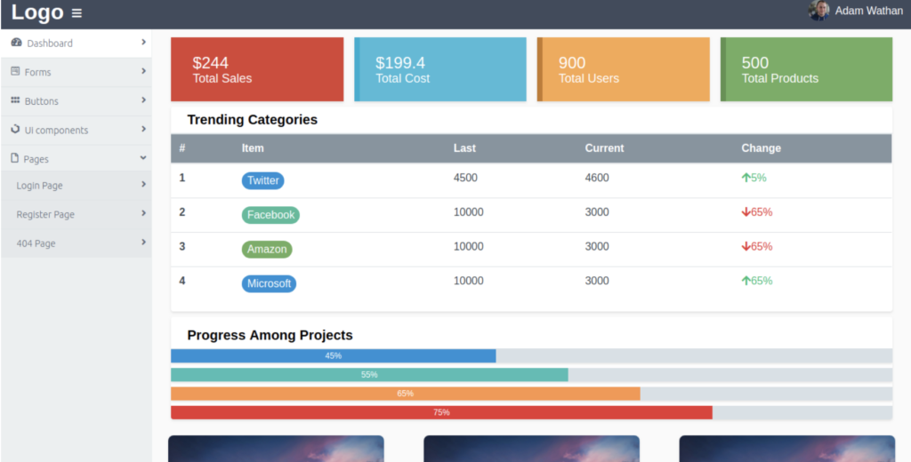 Admin Panel Template Tailwind CSS