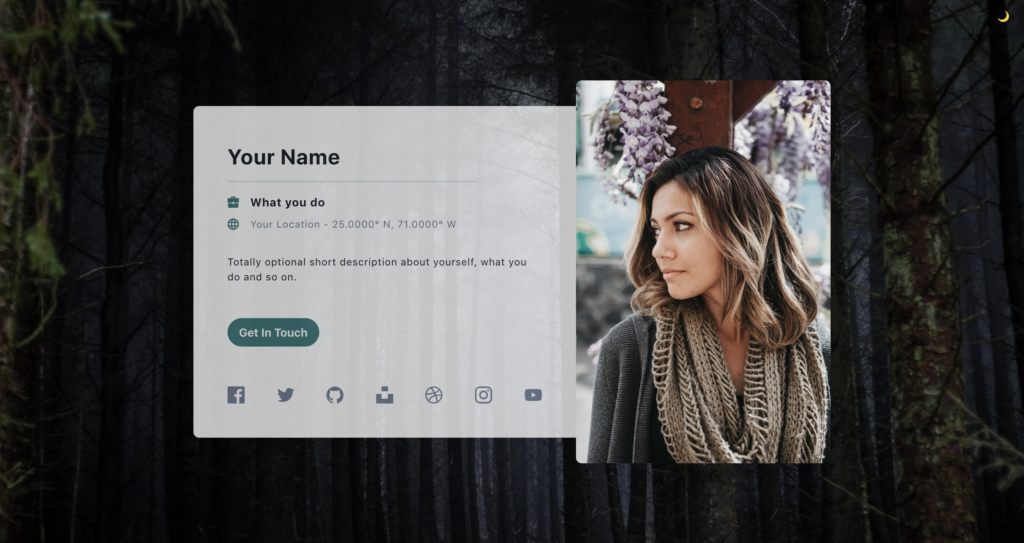 Profile card using tailwind css