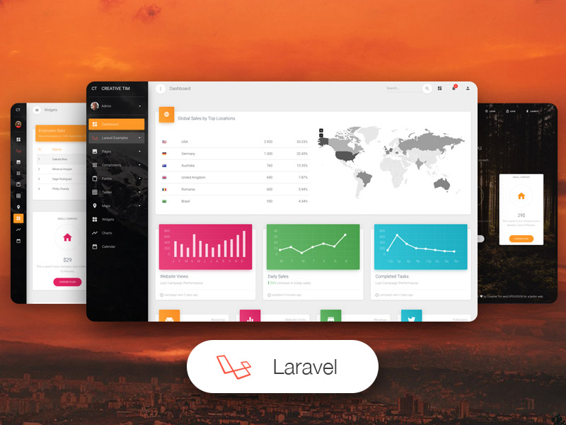 material dashboard pro laravel templates