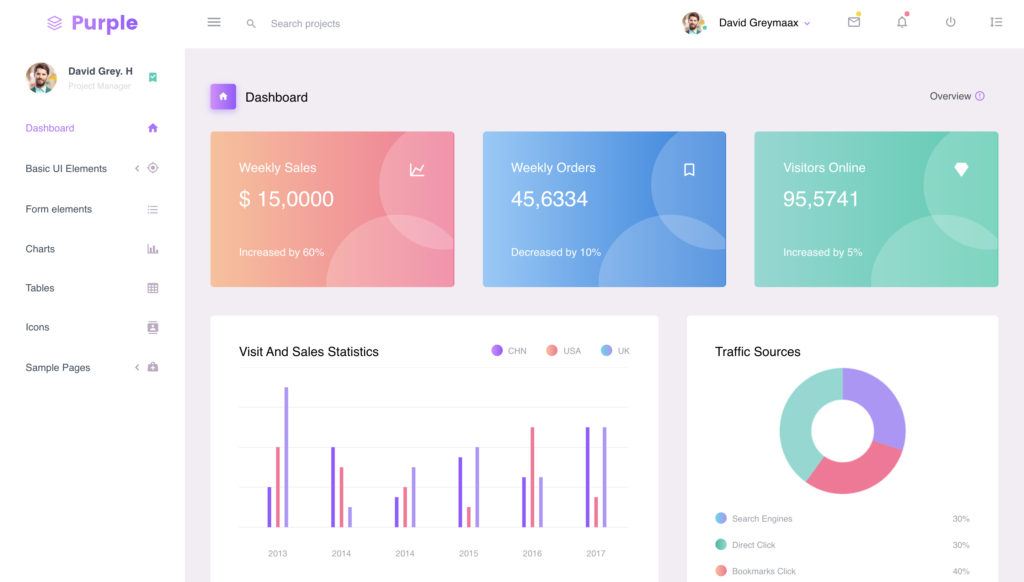 purple angular template preview