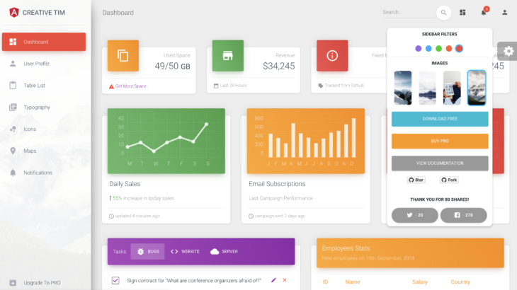Angular Material Themes-Material Dashboard Angular