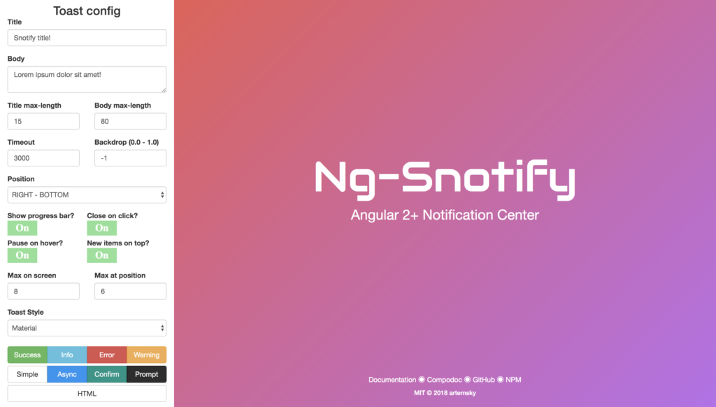 Snotify Notification Center
