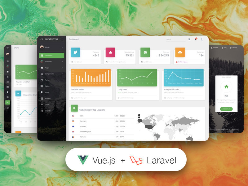 vue material dashboard laravel pro